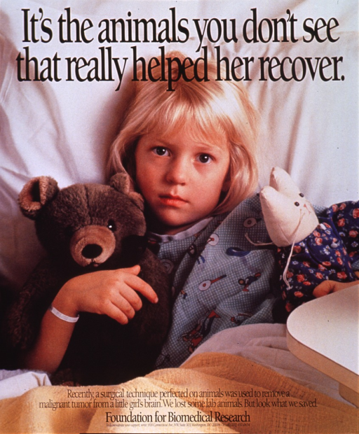 <p>Multicolor poster with black lettering.  Entire poster is a reproduction of a color photo.  Title superimposed at top of photo.  Photo shows a little girl lying in bed with a toy bear and a toy cat.  The girl wears a hospital gown and ID bracelet.  Caption and publisher information superimposed on bottom of photo.</p>