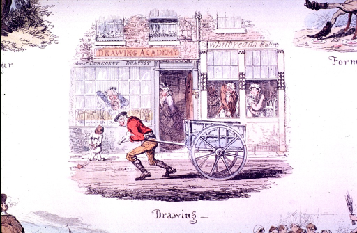 <p>A man is pulling a cart past store fronts that include a drawing academy and a dentist's office.</p>