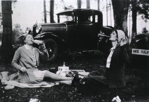 <p>Goggans and McLaughlin drinking sodas during a roadside picnic lunch beside the car.</p>