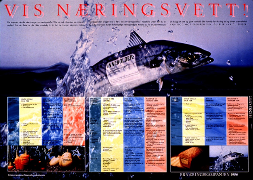 <p>Multicolor poster.  Title at top of poster addresses good nutrition knowledge.  Dominant visual image is a color photo reproduction featuring a fish jumping out of water.  A contents label has been affixed to the side of the fish, noting it as a source of protein, B vitamins, and minerals.  A chart below the fish lists important nutrients, their primary sources, and their impact on health.  Smaller color photo reproductions featuring carrots, potatoes, bread, and the fish, all with contents labels, below chart.  Note and publisher information at bottom of poster.  Note announces a nutrition campaign.</p>