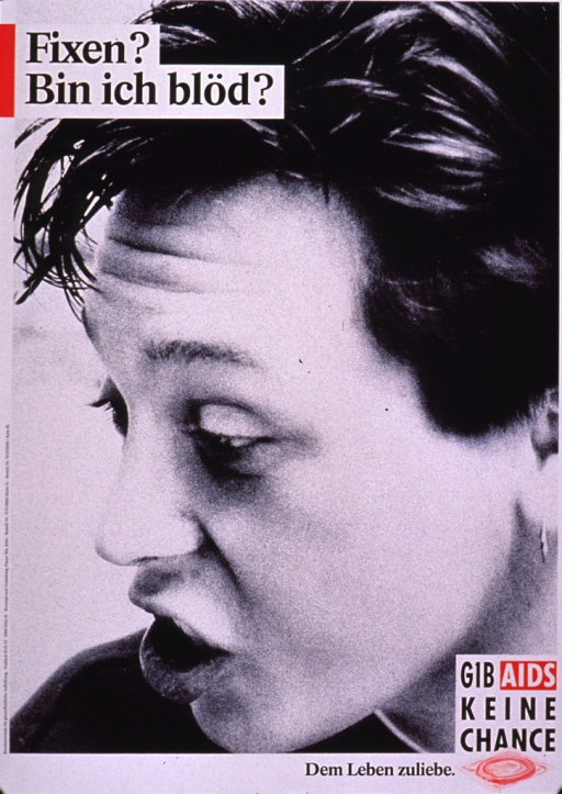 <p>Black and white poster with some red along the border and behind some of the print. The title is along the top and the rest of the print is at the bottom of the poster. The bottom right corner of the poster has the phrase &quot;Dem Leben zuliebe&quot; next to the logo for Gib AIDS keine Chance (which includes a condom packaged in red). The visual is a photo reproduction of of the profile of a young person's face. The expression on the person's face is one of disbelief or frustration.</p>
