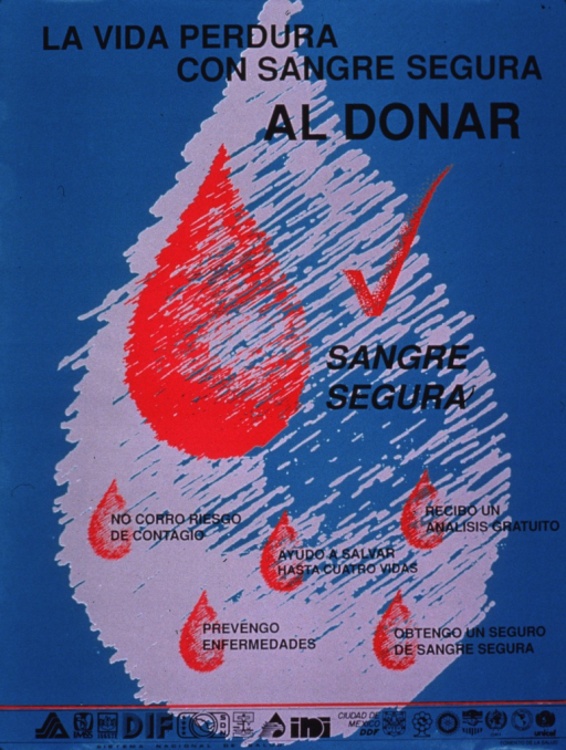 <p>Predominantly green poster with black lettering.  Title at top of poster.  Visual images are red droplets of varying size.  Caption text dispersed throughout poster dispels myths and emphasizes benefits of giving blood.  Several logos and publisher information at bottom of poster.</p>
