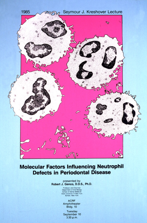 <p>Four cells with ragged edges are in a bright pink square.  Each cell has one or more darker bodies inside.  The date of the lecture is Tuesday, Sept. 10.</p>