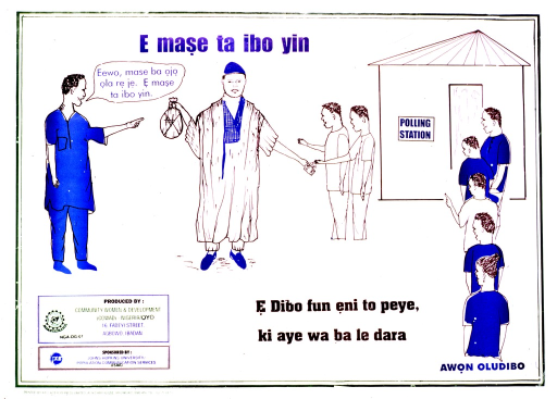 <p>White poster with multicolor lettering.  Title near top of poster.  Visual image is an illustration, apparently about voting fraud.  A man stands holding a money bag in one hand and passing out cash with the other.  A polling station is nearby, with a line of people waiting to enter and vote.  A man to the left of the man with the cash speaks the note.  Caption in center of poster near bottom.  Publisher and sponsor information in lower left corner.</p>