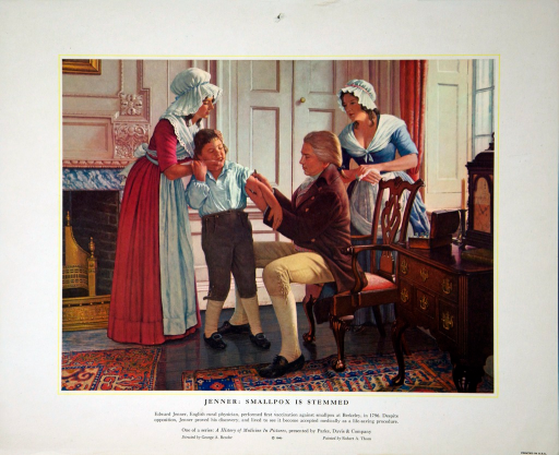 <p>Edward Jenner, English rural physician, performed first vaccination against smallpox at Berkeley, in 1796. Despite opposition, Jenner proved his discovery, and lived to see it become accepted medically as a life-saving procedure.</p>