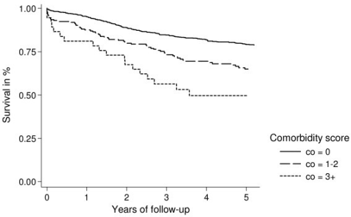Kaplan-Meier survival curves for ovarian cancer patients with localized tumour/FIGO stage I, according to presence of comorbidity at time of diagnosis.