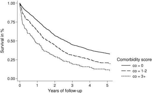 Kaplan-Meier survival curves for ovarian cancer patients with regional spread/FIGO stage II and III, according to presence of comorbidity at time of diagnosis.