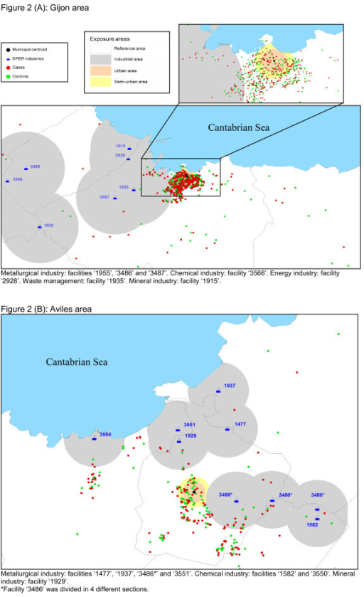 Distribution of cases, controls, municipal centroids, and industries in the Gijon (A) and Aviles (B) health areas. 2A: Metallurgical industry: facilities '1955', '3486' and '3487'. Chemical industry: facility '3566'. Energy industry: facility '2928'. Waste management: facility '1935'. Mineral industry: facility '1915'.2B: Metallurgical industry: facilities '1477', '1937', '3486*' and '3551'. Chemical industry: facilities '1582' and '3550'. Mineral industry: facility '1929'. *Facility '3486' was divided in 4 different sections.