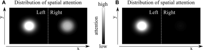 Alternative distributions of spatial attention in the two hemifields. By task design, the measure of attention in Cohen and Maunsell (2010) is intrinsically relative (e.g., more attention to the left versus right hemifield). Thus, it is not possible to distinguish whether attention within the source areas is split across hemifields (A), or instead there is a single spotlight of attention (B).