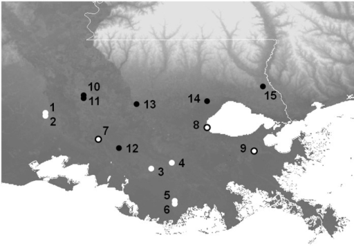 Map of field sites in southeastern Louisiana.Black circles indicate sites where only H. cinerea was sampled. White circles with black outlines indicate sites where H. cinerea and other species were sampled. White circles with no outline indicate sites where only other species (no H. cinerea) were sampled. Site numbers correspond to Tables 1 and S1.