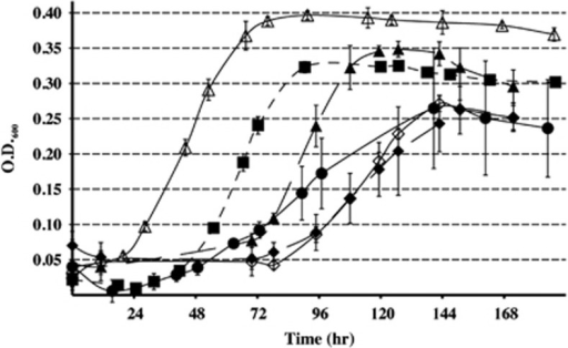 Growth curves for wild-type and mutant M. maripaludis cultures on lactate. The error bars indicate s.d. of triplicate cultures. Wild type (filled squares); Δmtd (open triangles); Δhmd (closed triangles); ΔfruA (open diamonds); ΔfrcA (closed diamonds); and ΔfrcAΔfruA (closed circles).