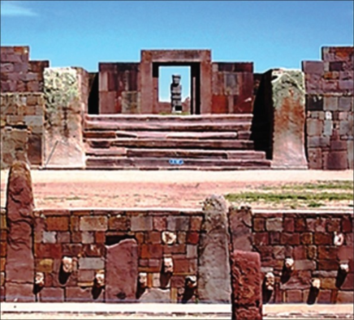 The Kalasasaya and the lower temples at Tiwanaku. The Ponce Monolith is shown aligned with the Kalasasaya main door. At equinoxes, the sun shines into the monolith