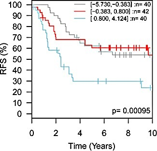 TMEPAI expression levels are prognostic for relapse-free survival in HER2+ breast cancerHER2-expressing intrinsic subtype breast cancer patients, divided into three groups based upon TMEPAI (PMEPA1) transcript levels (grey trace, low expression, n=40 patients; red trace, medium expression, n=42 patients; blue trace, high expression, n=40 patients) showed significant differences (p=0.00095) in relapse-free survival (RFS). Meta-analysis performed using the GOBO server (http://co.bmc.lu.se/gobo/gsa.pl).