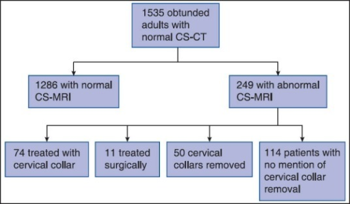 Evaluations, results, and interventions in included patients. CS-CT: Cervical spine computed tomography; CS-MRI: Cervical spine magnetic resonance imaging