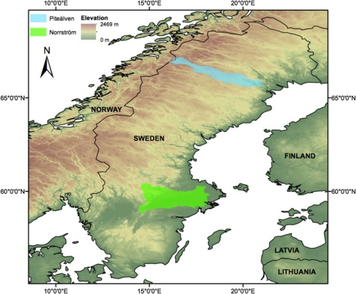 Location of the two study basins: Norrström in green and Piteälven in blue. The base layer is a Digital Elevation Model provided by the European Environment Agency (EEA 2012)