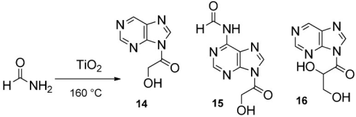 Synthesis of acyclonucleosides from formamide (see [20,23]).