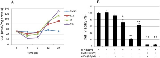 Intracellular GSH levels and susceptibility to CdSe QD-induced cytotoxicity.(A) Effect of SFN on intracellular GSH levels. HHL-5 cells were exposed to SFN (2.5, 5 and 10 μM) with DMSO (0.1%) as a control for 0, 3, 6, 12 and 24 h. The levels of intracellular GSH were measured by an HPLC assay. Data are shown as means ± SEM (n = 3). (B) Effect of SFN and BSO pre-treatment on CdSe QD-induced cytotoxicity. HHL-5 cells were pre-treated with SFN (5 μM) and/or BSO (100 μM) for 24 h, and then incubated with 20 μM CdSe QDs for another 24 h. Cytotoxicity was measured by MTT assay, and data shown as means ± SD (n = 6). *P<0.05, **P<0.01.
