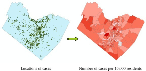 Spatial aggregation of individual cases using census enumeration units. Individual geocoded locations (left) are aggregated using census tracts (right). The count of the number of cases per census tract is used to determine relevant population-weighted indices, such as the number of cases per 10,000 residents. Determining incidence or disease rates, as opposed to raw counts, is one of the primary reasons for aggregation. As a secondary benefit, spatial aggregation greatly reduced the reidentification risk.