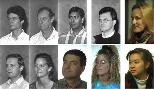 Examples of eye detection on the FERET database.The facial variations include pose, illumination, and glasses. The three left-most columns show accurate eye-center localization, while the right-most two columns show the inaccurate results.