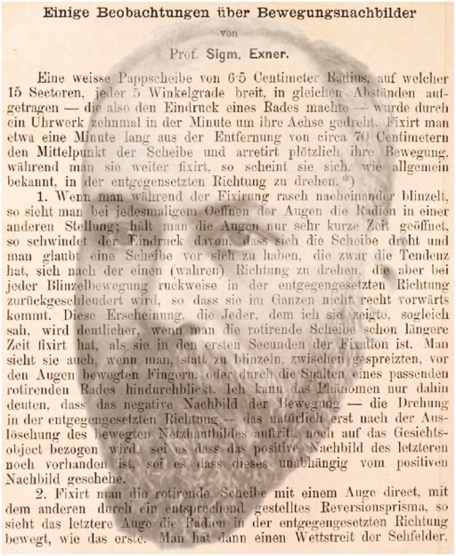 A portrait of Sigmund Exner combined with the first page of his 1887 article on the movement aftereffect (by Nicholas Wade).
