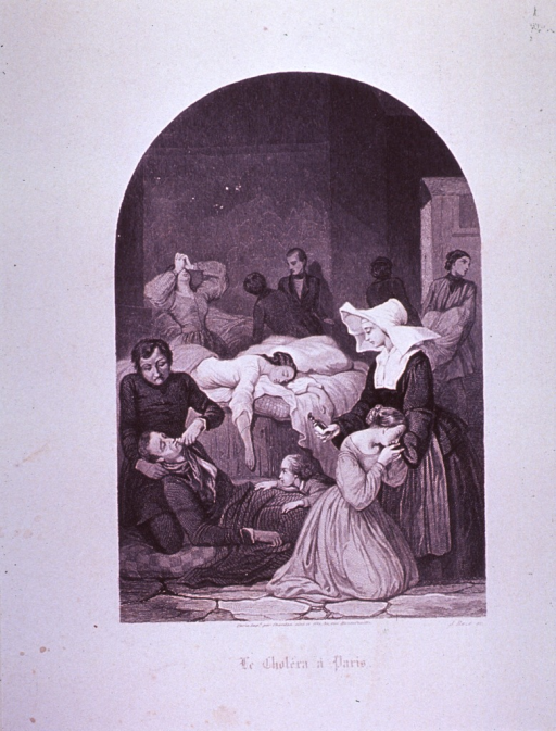 <p>Interior view through doorway showing the treatment of victims of the 1832 cholera epidemic.</p>