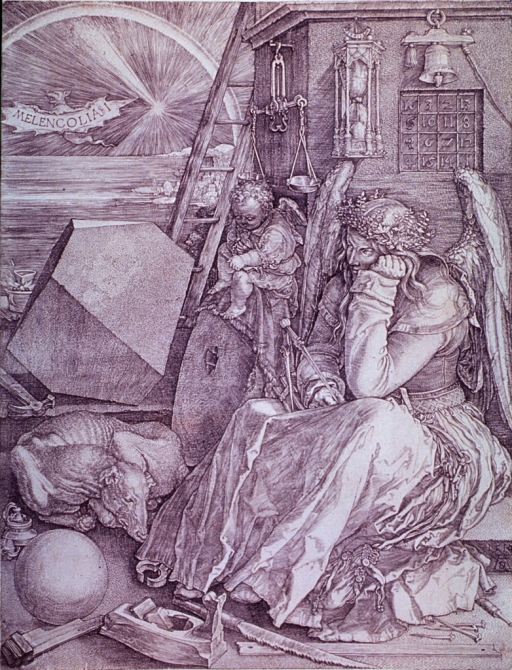 <p>Print shows a winged woman representing melancholy in the sense of an artist's spiritual self-portrait. She is surrounded by many symbolic figures and objects, including a bat carrying the inscription &quot;Melencolia I&quot; below a rainbow; a large stone, ladder, hourglass, bell, and magic square; carpenter's tools and a sleeping dog; and a small putto with a notebook and ink well. (Source: Panofsky.)</p>