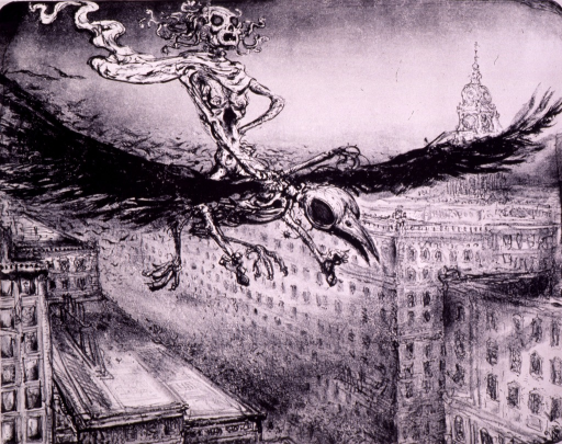 <p>The plague, in the form of a skeleton on a crow, flies into a city.</p>