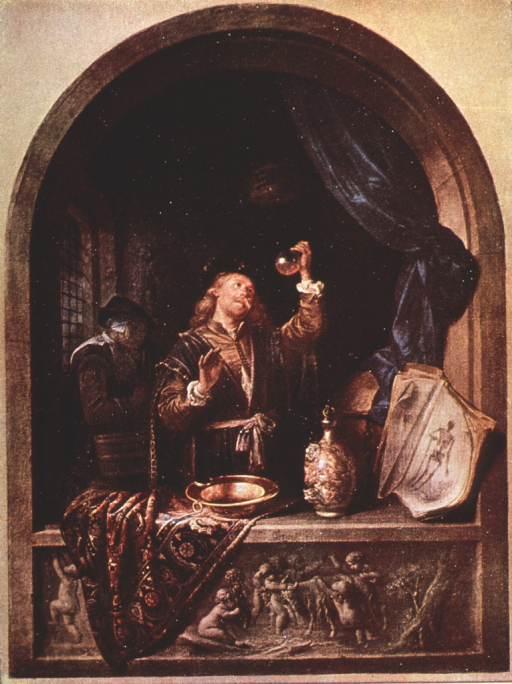 <p>A physician in the foreground examines a urine flask.</p>
