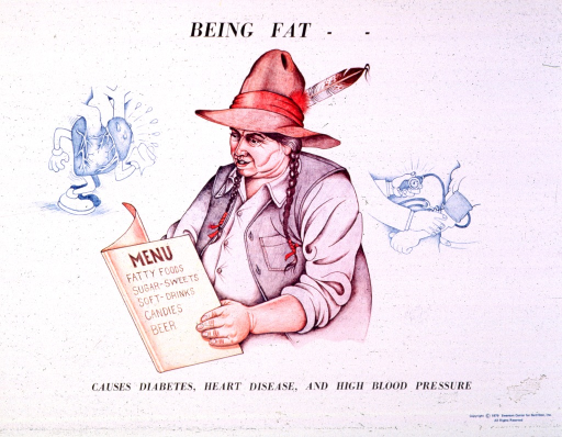 <p>White poster with black lettering.  Initial title words at top of poster.  Central visual image is a reproduction of a hand drawing of an overweight Native American Indian reading a menu.  The front of the menu lists poor food choices such as fatty foods, soft drinks, and beer.  Smaller illustration on the left side of poster depicts a cartoon character heart wiping away sweat.  Another illustration on the right side of poster shows a blood pressure being taken, with lines above the dial as if to indicate alarm.  Remaining title words below illustrations.</p>