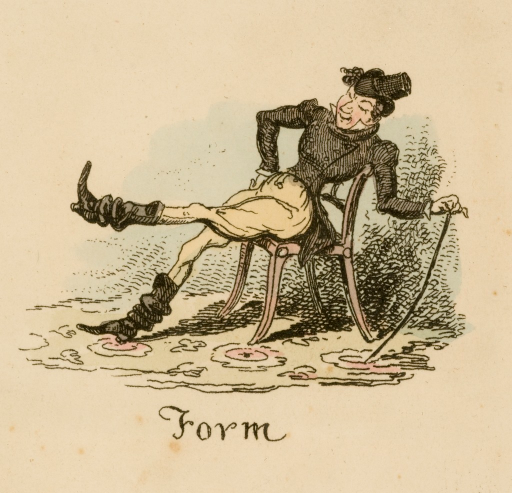 <p>A man is leaning back in a chair; one leg is extended, his left hand is resting on a cane.</p>