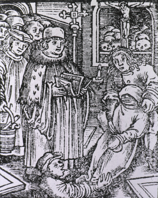 <p>A religious figure is reading from a text as the body of a plague victim is lowered into a grave by two men.</p>
