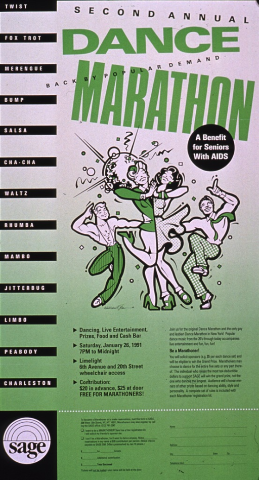 <p>Predominantly green poster with multicolor lettering.  Title at top of poster.  Visual image is an illustration of a group of people dancing.  Additional text on poster provides event details.  Publisher information in lower left corner.</p>