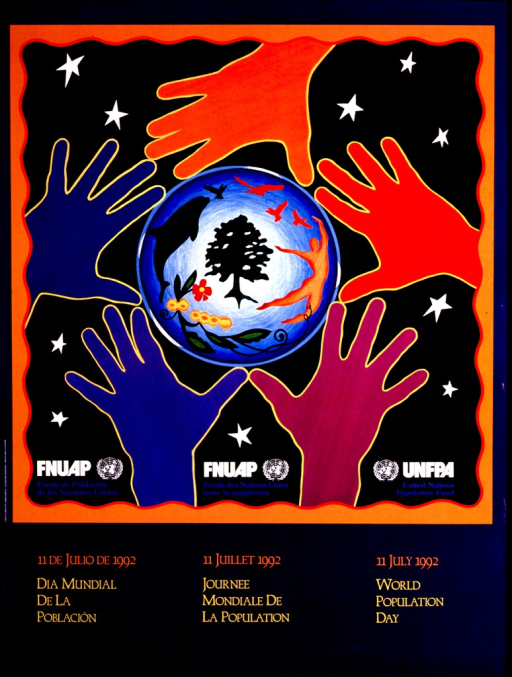 <p>Predominantly blue poster with multicolor lettering.  Upper portion of poster features an illustration of a circle surrounded by five hands.  Various plants and animals are depicted in the circle.  Publisher information at bottom of illustration in Spanish, French, and English.  Title at bottom of poster in same languages.</p>