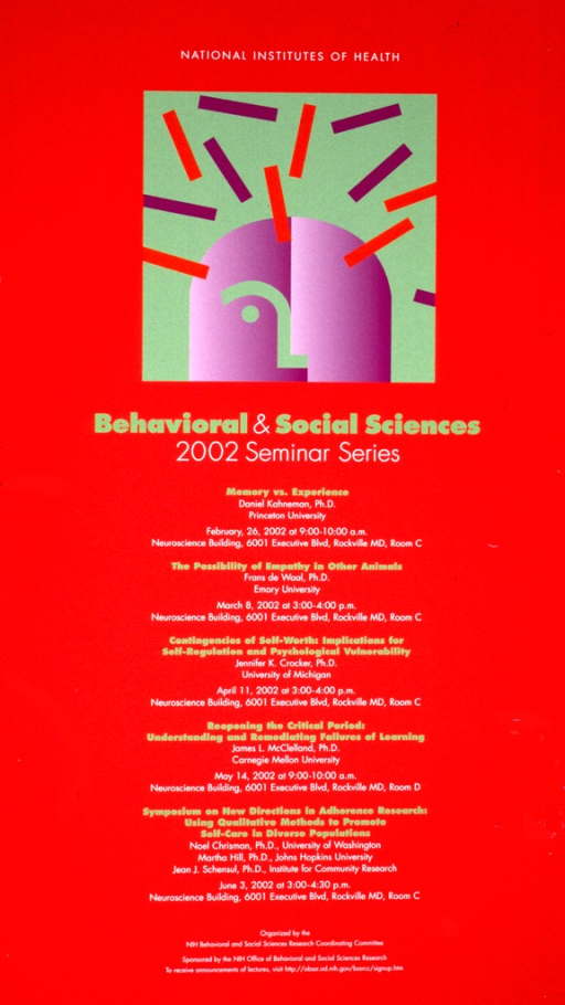 <p>Red poster with light green and white print listing the titles and speakers of the lectures to be given from February 26, 2002 through June 3, 2002. The top part of the poster has a large light green square with an abstract image in purple and red.</p>