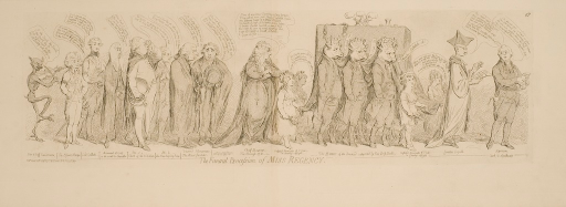 <p>A satire of the overthrow of the Regency Bill by the recovery of King Geoge III.  Mrs. Fitzherbert, still believed to be married to the Prince of Wales, is shown in the midst of a mock funeral procession behind the casket of the Prince of Wales.  The casket is carried on the shoulders of six men with bulls' heads.  Dialog bubbles issue from each of the mourners, which include political figures of the day.  The procession is followed by a nude demon playing the fiddle.</p>