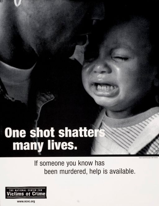 <p>Black and white poster with white and black lettering. Visual image is a man with a crying baby. Title superimposed at bottom of image. Note below title. Publisher information at bottom of poster.</p>