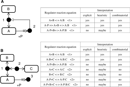 Example models of the explicit, heuristic and combinatorial interpretation in CADLIVE. Tyree types of interpretation for the reactions are described in the side table. The number in the parentheses in the tables indicates the product species in the figures. For any RRE, interpretation is stated as, 'yes', 'no', or 'maybe'. 'Yes' and 'no' mean that the reaction occurs and does not, respectively, which depends on the employed interpretation. In the heuristic column, 'maybe' means that it is not known whether the products marked by the number are synthesized. Although the notation of CADLIVE has originally been designed as an explicit MIM, it is possible to apply heuristic and combinatorial interpretation to a map of CADLIVE, because the CADLIVE notation is built based on Kohn's MIM. Note that the RREs generated by the CADLIVE editor correspond to the explicit MIM but does not to the heuristic and combinatorial MIMs.