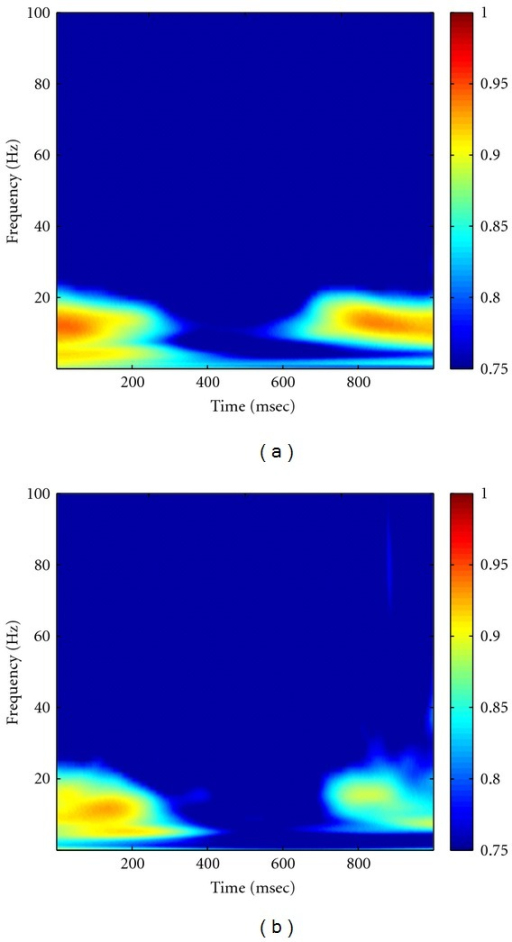 "Grand average of wavelet-transform-based coherence in Visible (a) and Invisible (b) conditions. Note that we used the ""Morlet"" as the mother wavelet."