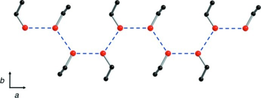 A partial packing view of the title compound, showing the ethanol solvent molecules forming a one-dimensional chain along the a axis through hydrogen bonds. The hydrogen bonds are shown as dashed lines. H atoms have been omitted for clarity.
