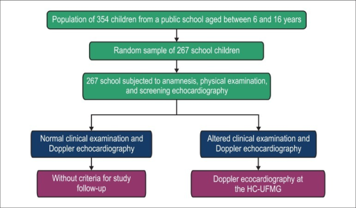 Sequence of evaluations performed on the school population selected for thestudy.