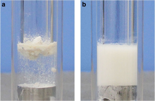 Formation of ZIF-8/glycol slurries.Photographs of experimentally prepared slurries with solid ZIF-8 suspended in liquid glycol: (a) before mixing, (b) after mixing.