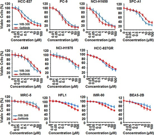 WB-308 exhibits evidences to be a better EGFR inhibitor than Gefitinib11 NSCLC cell lines (HCC-827, PC-9, NCI-H1650, SPC-A1, A549, NCI-H1975, HCC-827GR, MRC-5, HFL1, IMR-90 and BEAS-2B) were subjected to the cell viability assay stained by SRB as described in Materials and Methods. Columns, mean; bars, SE (n = 3; t-test, P < 0.05).