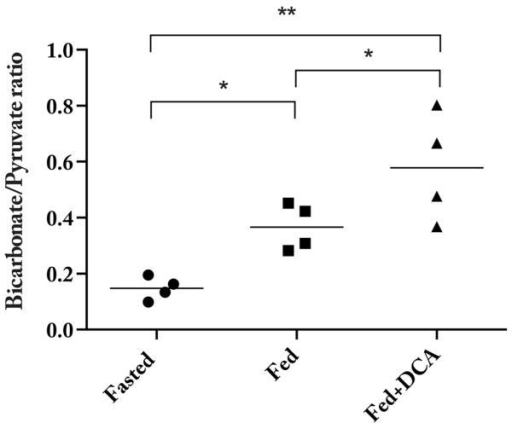 The ratio of maximum bicarbonate/pyruvate was significantly different across the three groups of animals scanned, reflecting the known inhibition of PDK by DCA. (* denotes P < 0.05; ** P < 10−5.)