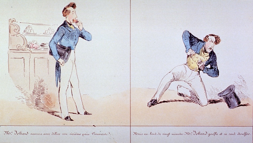 <p>Second in a series of five:  On the left, a man (M. Jobard) is eating pastries; on the right, after eating six pastries he is overcome with indigestion, he drops his hat and falls to his knees clutching his abdomen.</p>