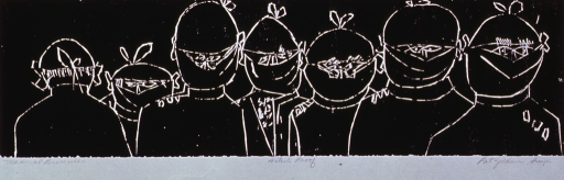 <p>Caricature of seven surgeons lined up in a row, all wearing caps, gowns, and masks.</p>