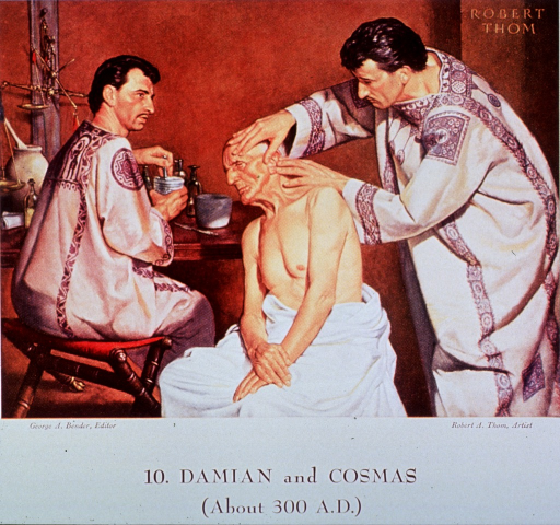 <p>Showing Damian and Cosmas treating a patient.</p>