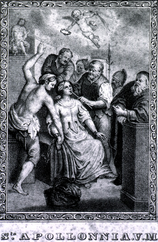 <p>Full length, seated with wrists chained to chair; several men are gathered around her pulling her teeth; overhead is a cherub with plam frond and laurel wreath.</p>