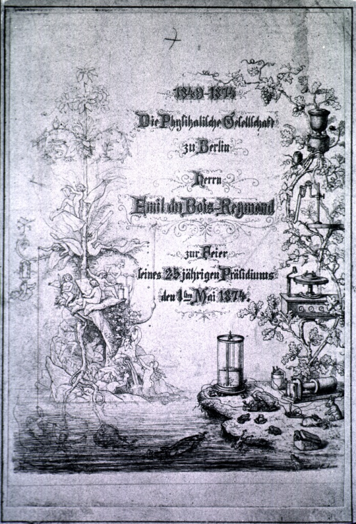 <p>Decorative card as testimonial of 25 years of service, 1849-74.</p>