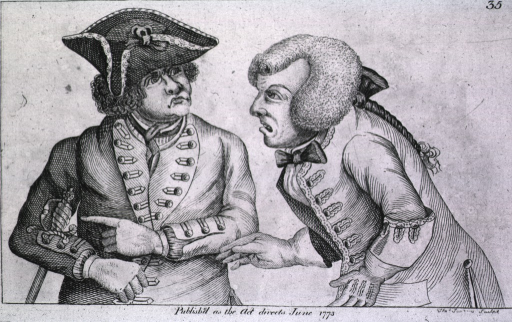 <p>Two men wearing military uniforms, one bearing an urgent message for action, the other not wishing to respond.</p>