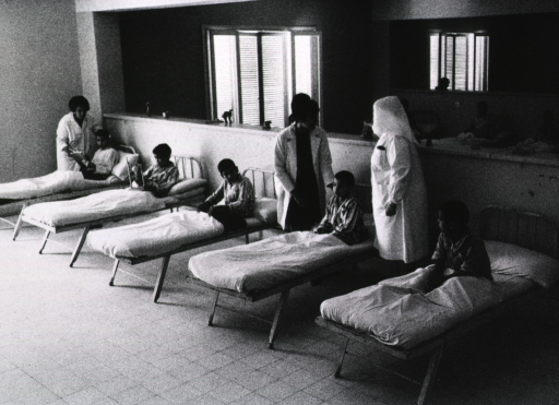 <p>Interior view of a hospital ward: a group of young boys sitting on cots; a physician and a nurse are standing on opposite sides of one cot.</p>